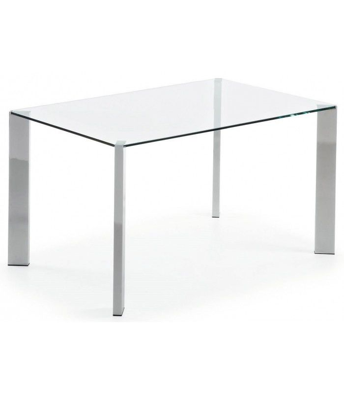 Table 140 x 90 verre transparent chrome coin centrolandia for Coin tavoli