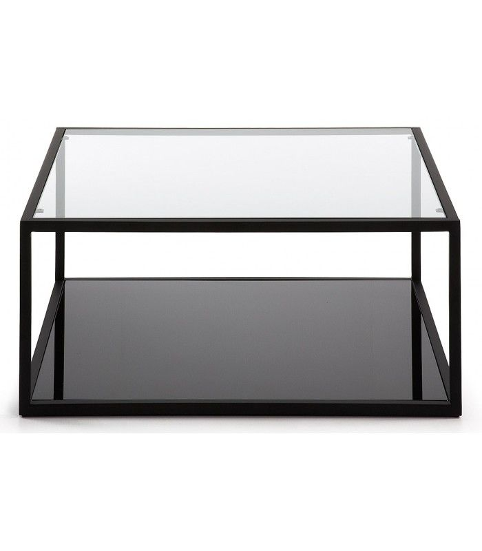 Coffee table furniture living room modern black metal for Metal frame glass coffee table