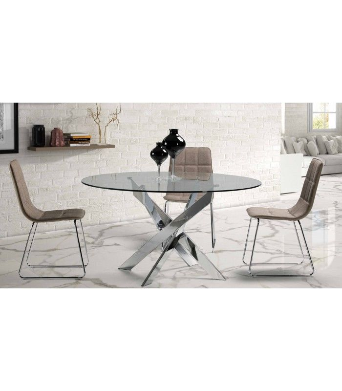 Thur 140 di ne moderne salle manger ronde table for Table de television en verre