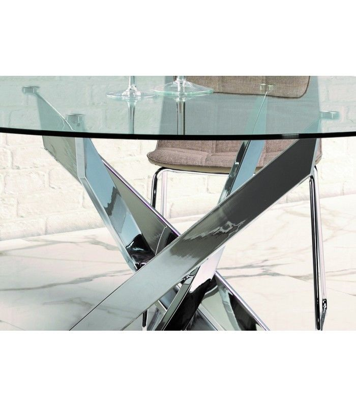 Thur 120 di ne moderne salle manger ronde table for Table salle a manger en verre design ronde