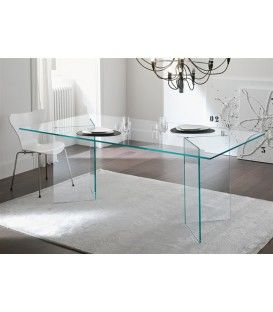 Table de BURANO Otis Manger 180x90 en Verre transparent