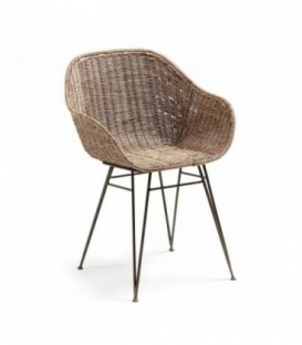 Charley Silla Brazos Metal Gris, Rattan Natural
