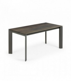 Table ATTA 160 (220) x 90 anthracite, porcela fer Moss
