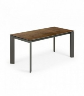 ATTA Mesa extensible 160(220)x90 antracita, porcelanico Iron Corten