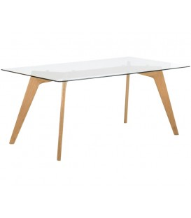 Conception de Boden 160 x 90 table à manger, bois, verre