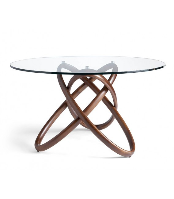 Table ronde trivium design en bois en verre tremp centrolandia - Table ronde verre bois ...