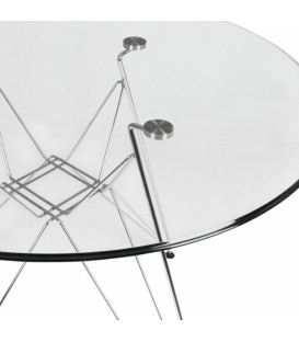 Table ronde de la Tour 90CR, le verre, le chrome