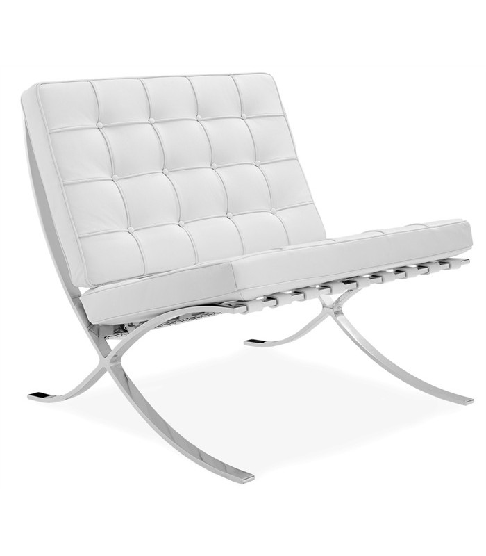 peau de r plica blanc chaise barcelona inspir e par ludwig mies van der rohe centrolandia. Black Bedroom Furniture Sets. Home Design Ideas