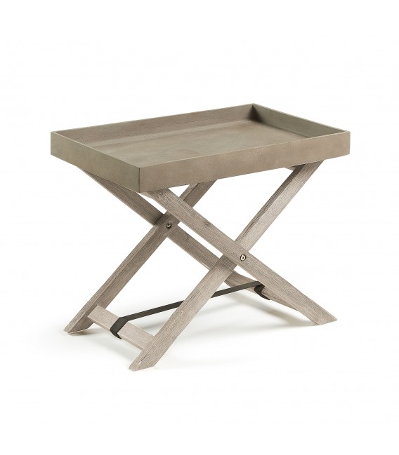 Stahl table pliante en acacia blanc ciment bross for Table exterieur acacia