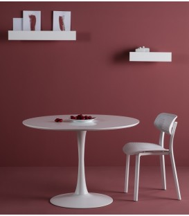 Table ronde ODE 110, insipirada E. Saarinen, BLANC