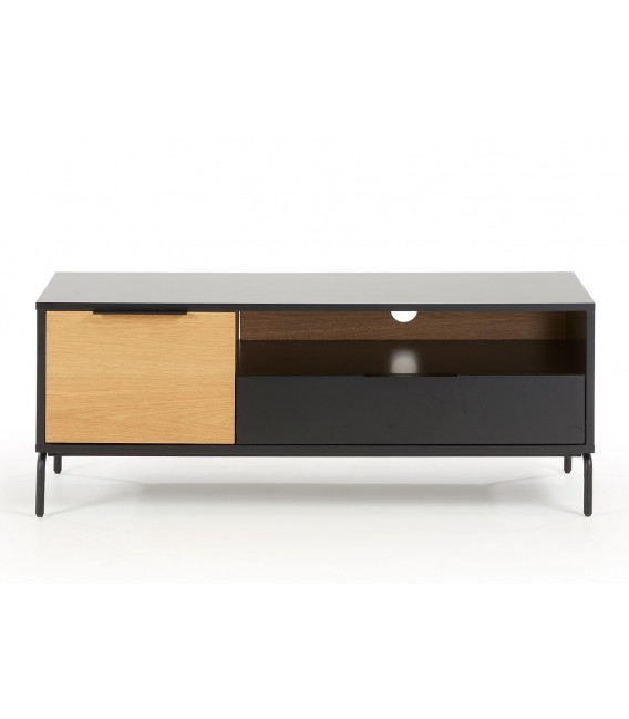SAVOI Mueble Tv 120x50, dm negro mate, chapa roble.