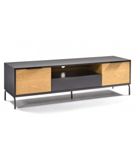 SAVOI Mueble Tv 170x50 dm negro mate, chapa roble.
