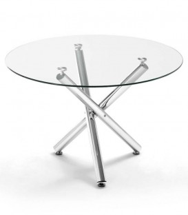 Table ronde 110 Spectres, le verre, le chrome