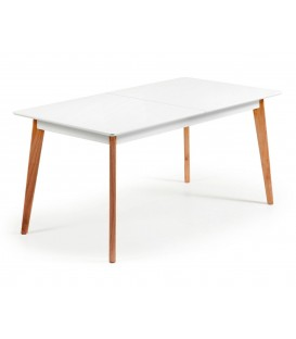 MEETY Table à manger extensible 160 (200) x 90, design nordique, blanc