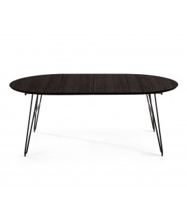 NORFORT Table ronde extensible120(200)x120 cm noir.