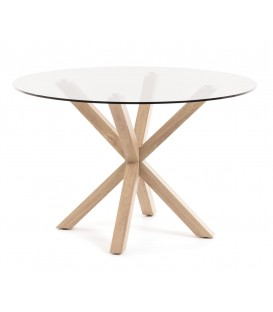 ARYA, Table ronde 120, cristal, naturel