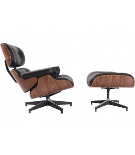 Poltrona Lounge Chair SimilPiel, preto, madeira