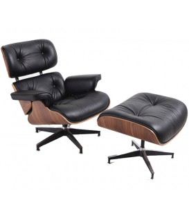 Sillón Lounge Chair SimilPiel, negro, madera