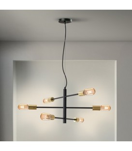 LAMPARA 6 Led SOHO, NEGRO, ORO