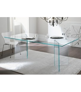 Table de salle à manger Otis Burano 180x90 en Verre transparent
