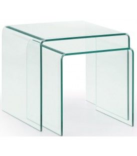 Set de 2 tables de BURANO 050 x 045 verre transparent