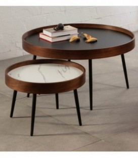 CENTRE DE TABLE NORDICA ROSELLA 80, NOYER, NOIR