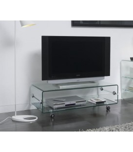 Mesa TV Bubble 120x60, cristal, ruedas