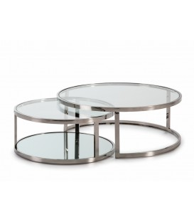 ENSEMBLE DE TABLES ACIERS, INOX, VERRE.