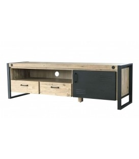 MUEBLE DE TV INDUSTRIAL BOSTON 165x45, metal, acacia