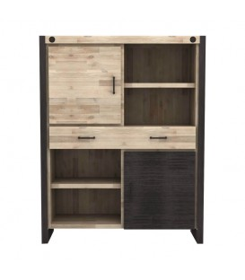 LIBRERIA BAJA INDUSTRIAL BOSTON 110X140, ACACIA, METAL NEGRO