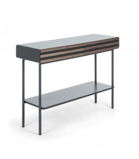 MAHON Console design industriel , 120x85 placage de noyer, dm matt graphite.