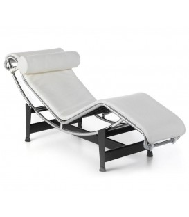 Chaise Lounge Lecor polipiel blanco, inspirada en Le Corbusier