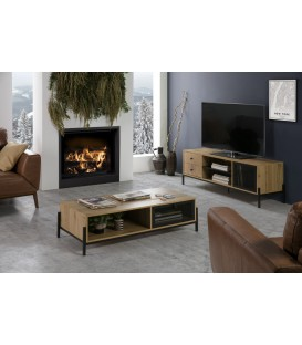 MUEBLE TV ANDY 144x40, ROBLE, metal NEGRO.