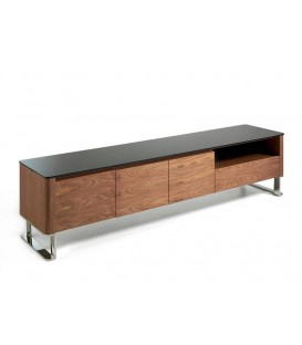 MUEBLE TV GIANT 200x45, MADERA NOGAL Y CRISTAL NEGRO