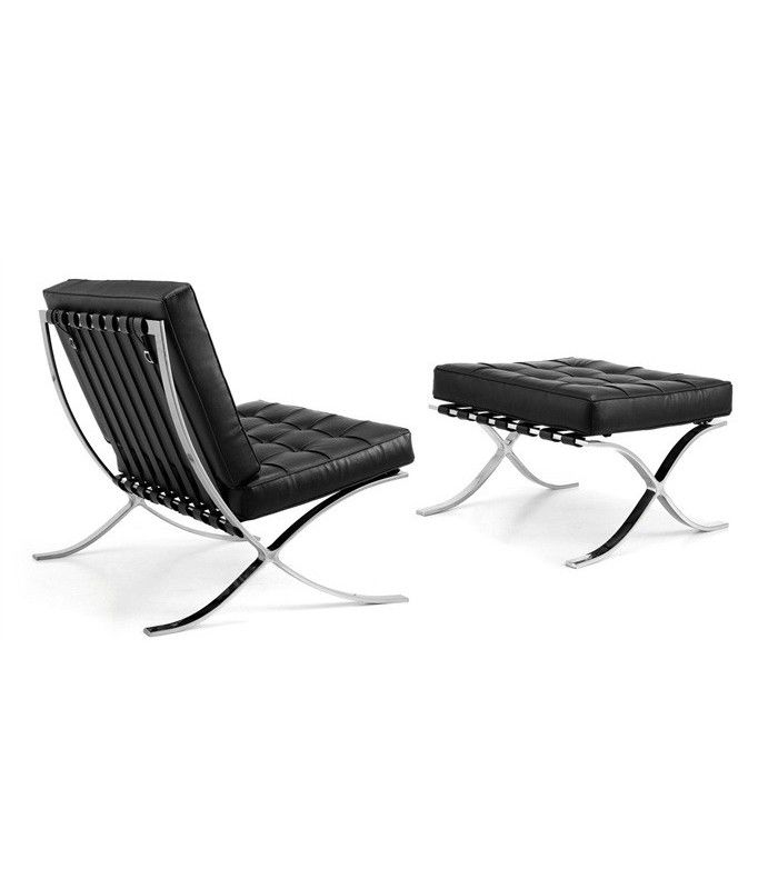 chaise barcelone r plique avec peau ottoman noir inspir par ludwig mies van der rohe. Black Bedroom Furniture Sets. Home Design Ideas