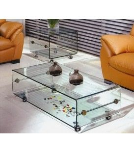 Mesa TV Bubble 100x50, cristal, ruedas