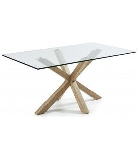 La conception ARYA 160 x 90, raccords naturels, table en verre transparent.