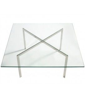 Conception Barna 102 x 102, inox, table basse en verre