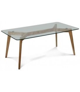Robi 120 x 60 design table basse, bois, verre