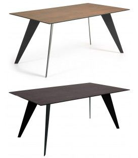 Mesa de comedor de diseño NACK, 180x100 Est.Epox Negro, Porcelanico.