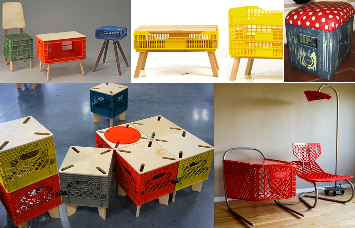 Muebles con cajas de pl stico blog decoraci n e interiorismo for Sillas para que coman los bebes